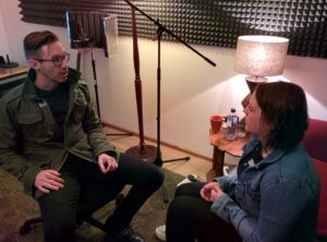 Craig and Laura recording their podcast