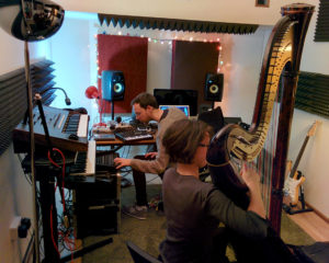 Recording a harp in the music studio